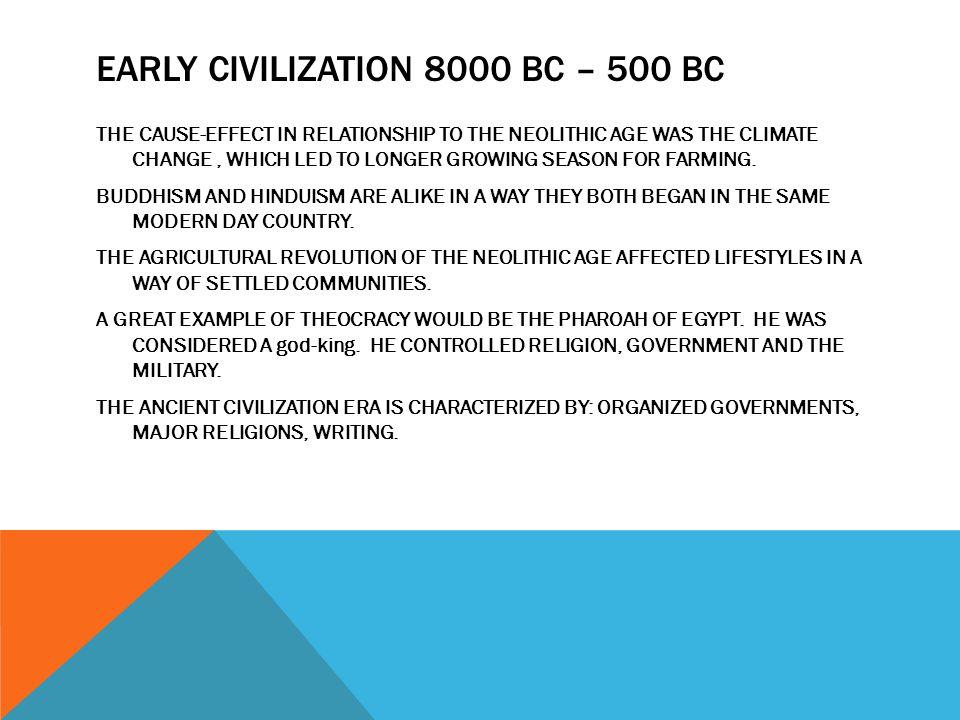 EARLY CIVILIZATION 8000 BC – 500 BC