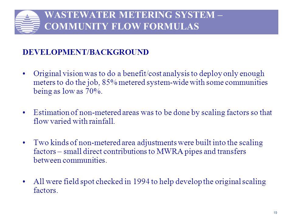 WASTEWATER METERING SYSTEM – COMMUNITY FLOW FORMULAS