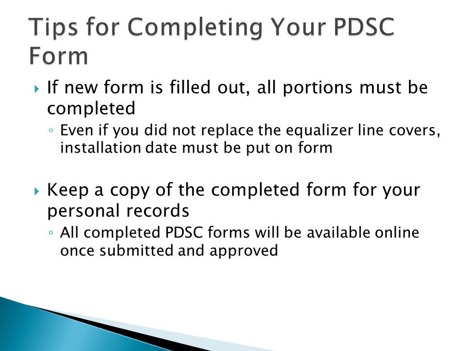 Tips for Completing Your PDSC Form