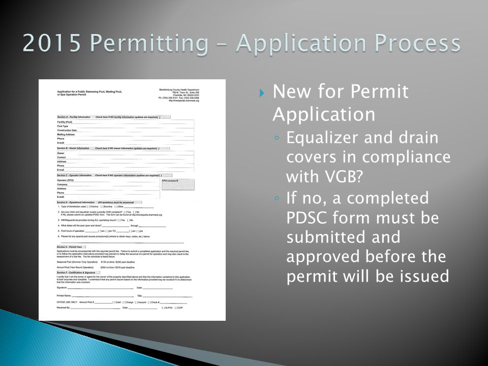 2015 Permitting – Application Process