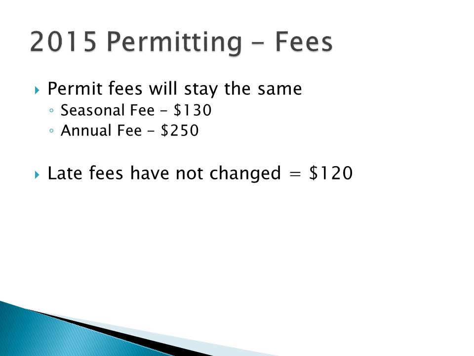 2015 Permitting - Fees Permit fees will stay the same