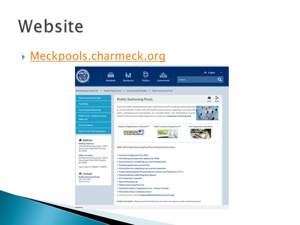 Website Meckpools.charmeck.org