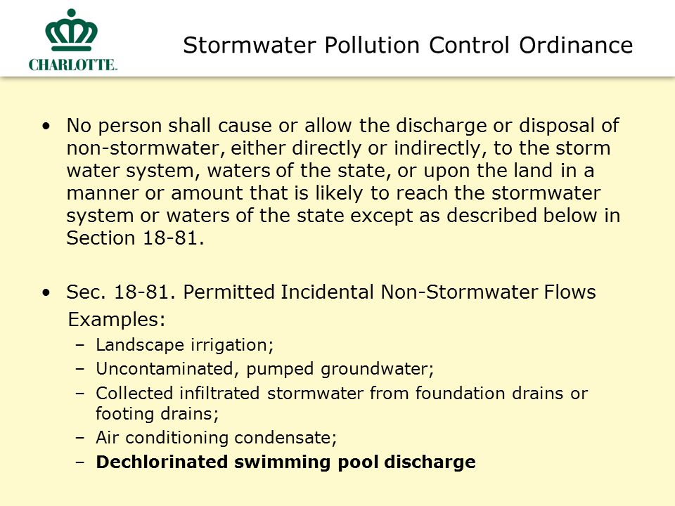 Stormwater Pollution Control Ordinance