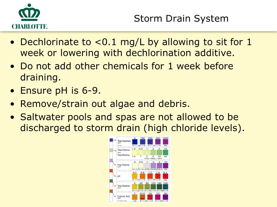 Storm Drain System Dechlorinate to <0.1 mg/L by allowing to sit for 1 week or lowering with dechlorination additive.