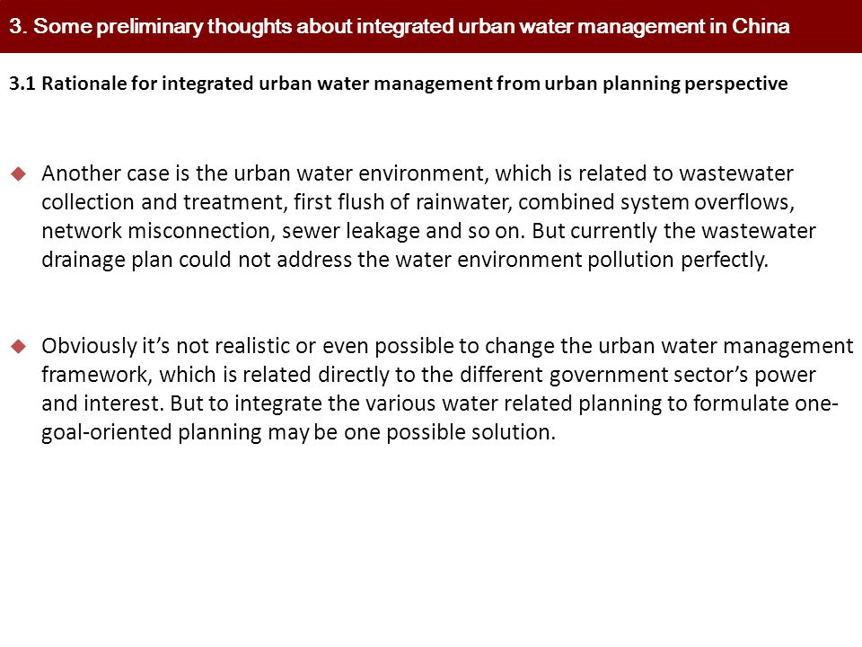 3. Some preliminary thoughts about integrated urban water management in China