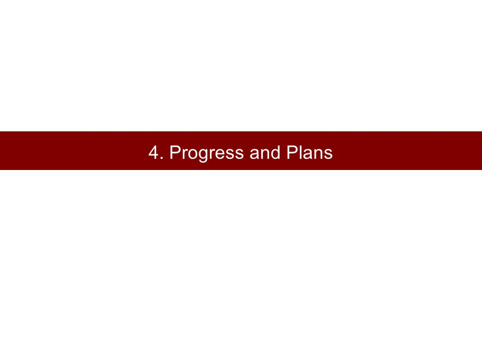 4. Progress and Plans
