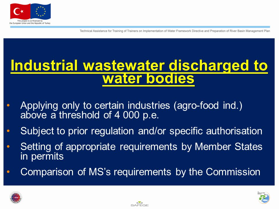 Industrial wastewater discharged to water bodies