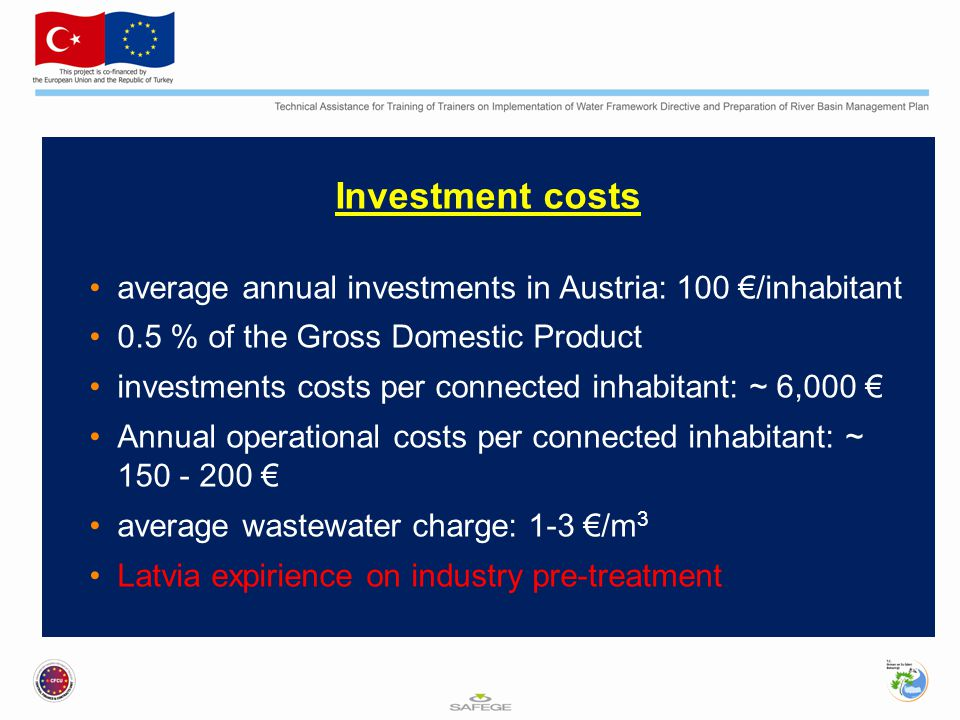 Investment costs average annual investments in Austria: 100 €/inhabitant. 0.5 % of the Gross Domestic Product.