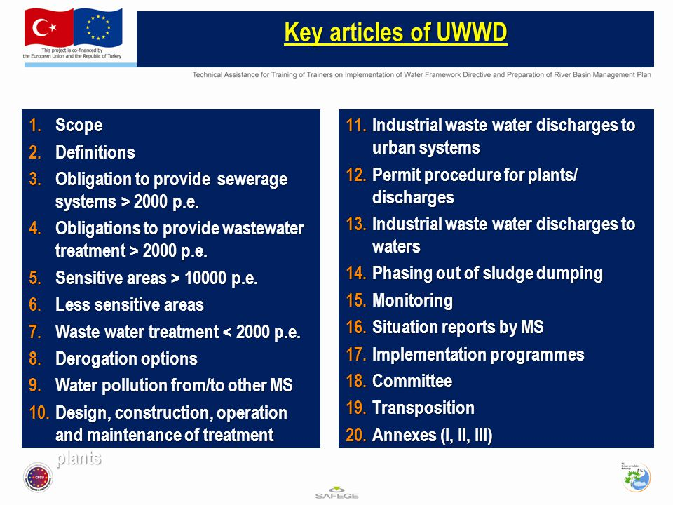 Key articles of UWWD Scope Definitions