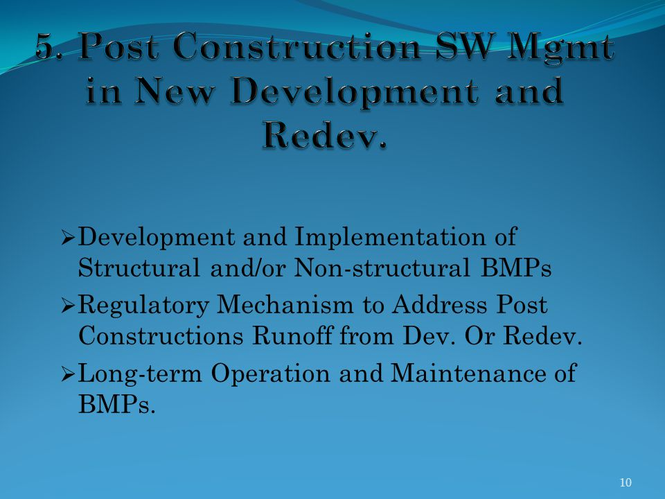 5. Post Construction SW Mgmt in New Development and Redev.