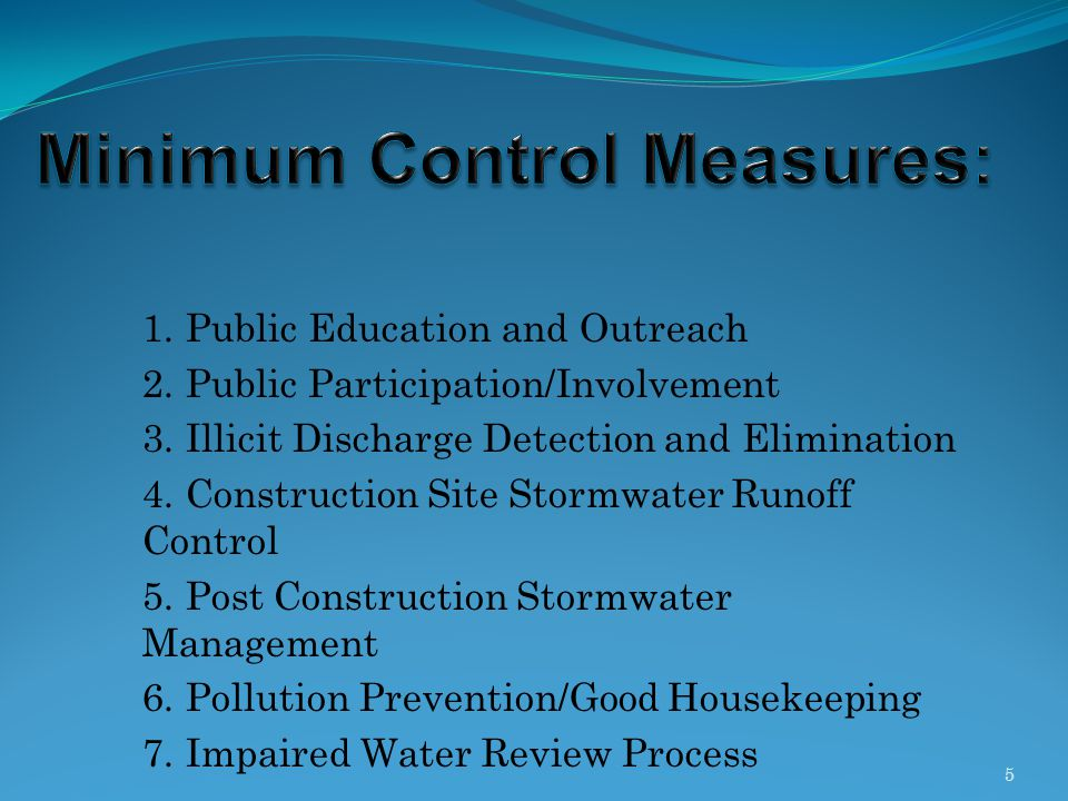 Minimum Control Measures: