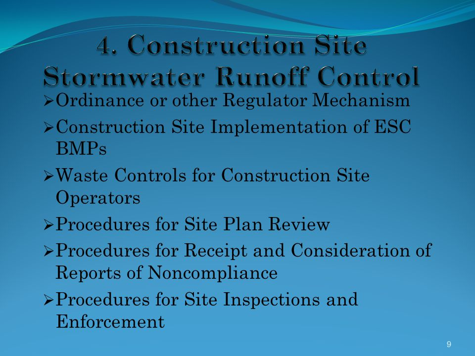 4. Construction Site Stormwater Runoff Control