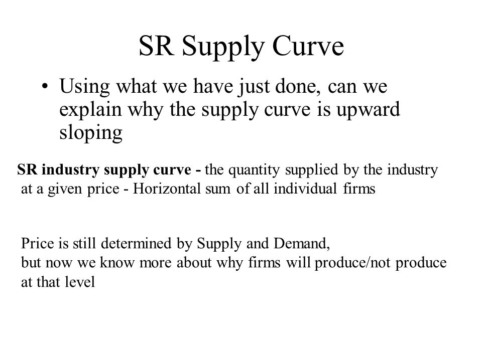 SR Supply Curve Using what we have just done, can we explain why the supply curve is upward sloping.