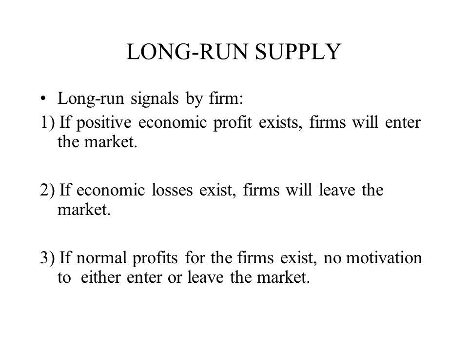 LONG-RUN SUPPLY Long-run signals by firm: