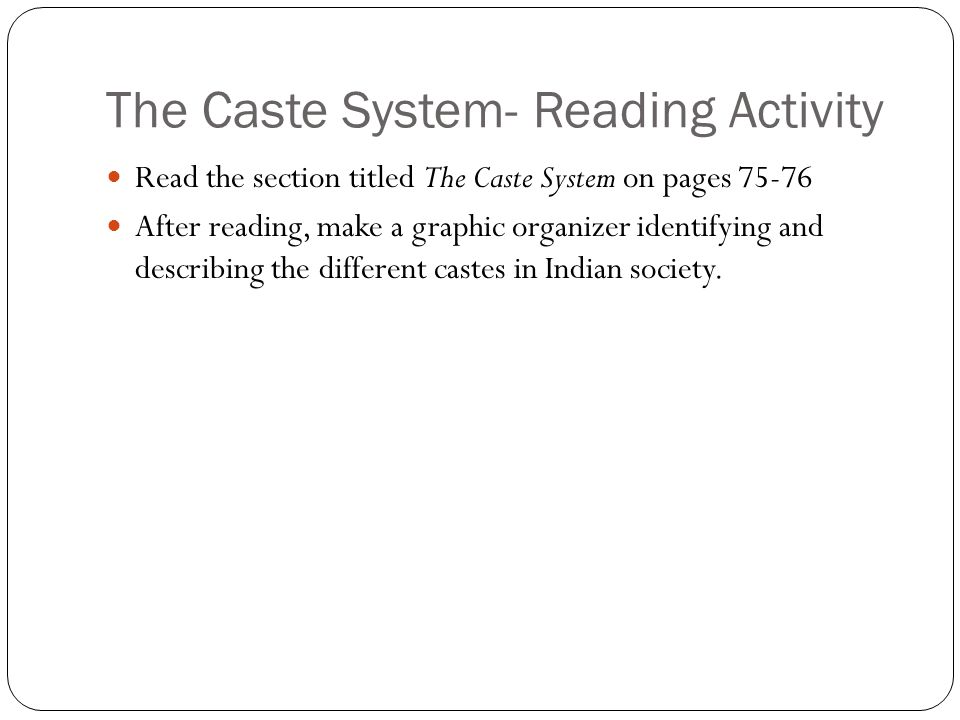 The Caste System- Reading Activity