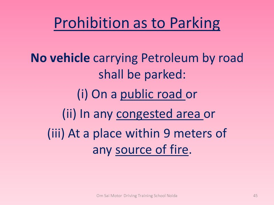 Prohibition as to Parking