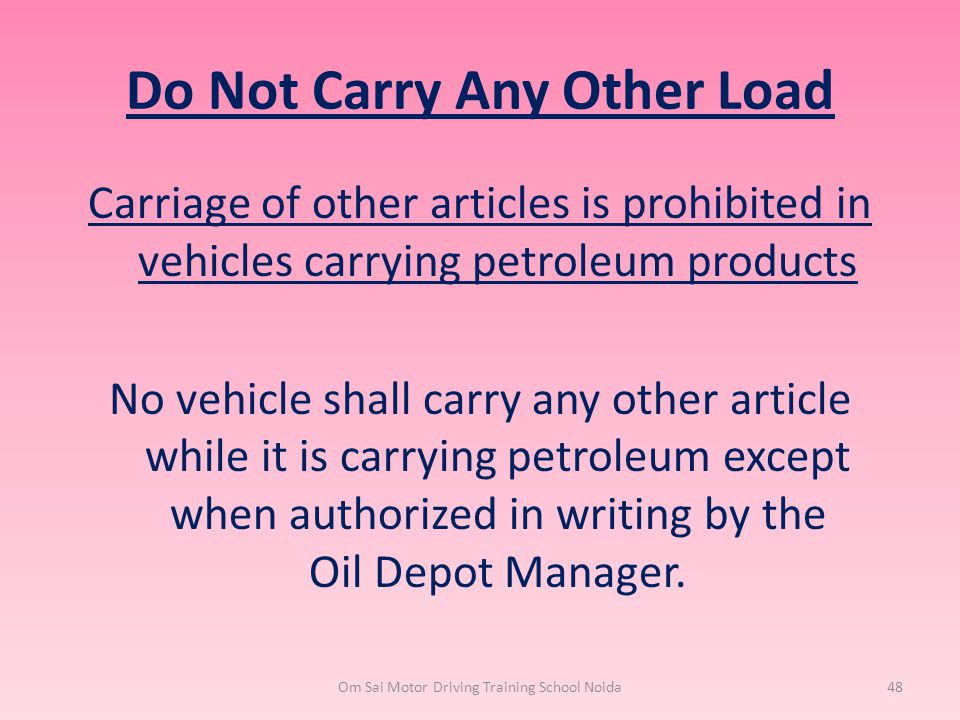 Do Not Carry Any Other Load