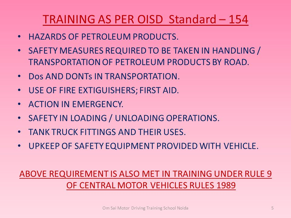 TRAINING AS PER OISD Standard – 154
