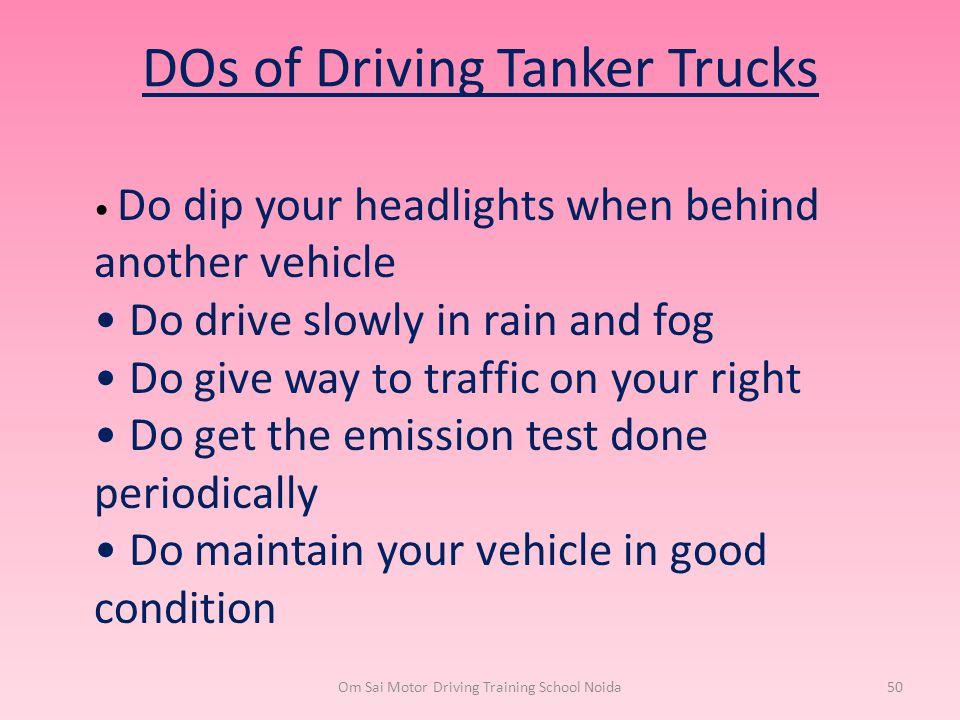 DOs of Driving Tanker Trucks