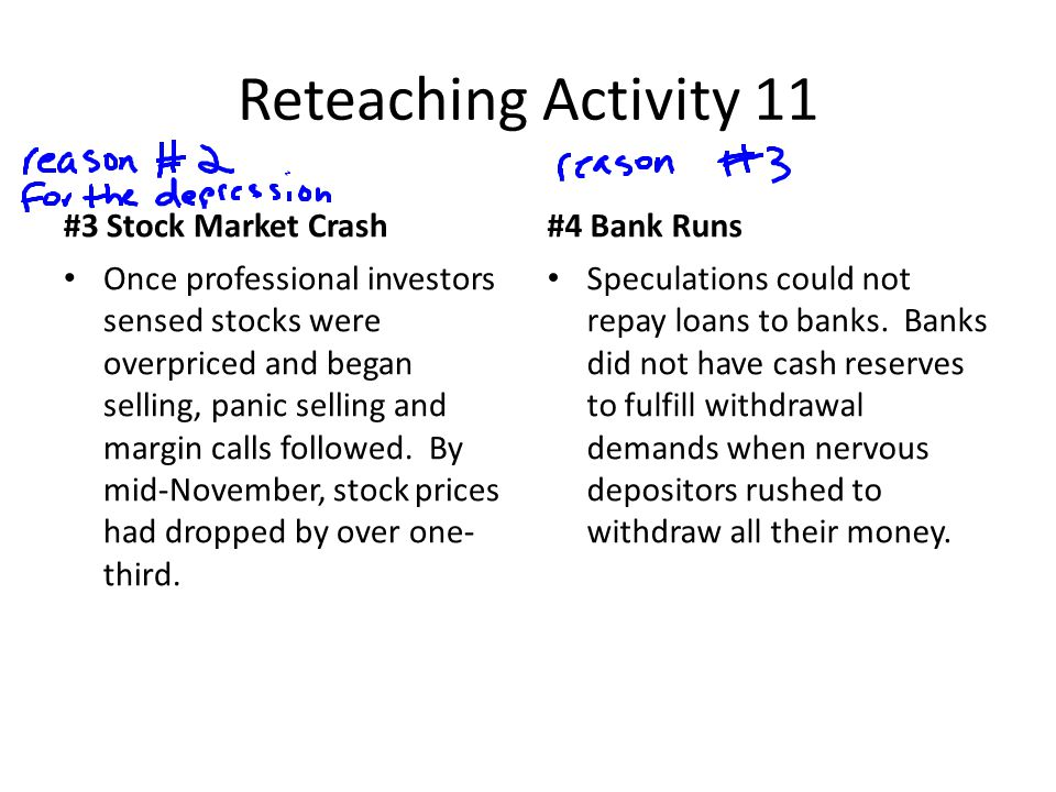 Reteaching Activity 11 #3 Stock Market Crash #4 Bank Runs