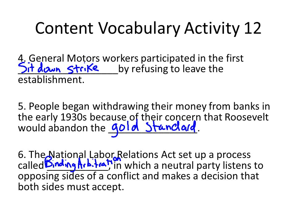 Content Vocabulary Activity 12