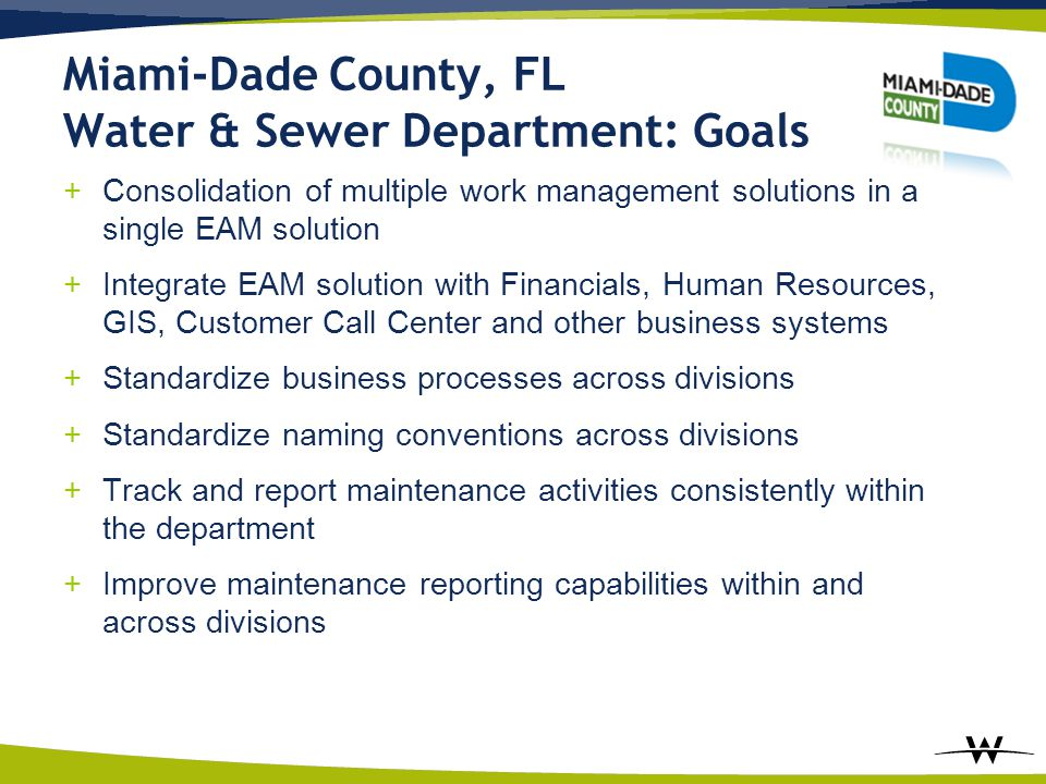 Miami-Dade County, FL Water & Sewer Department: Goals