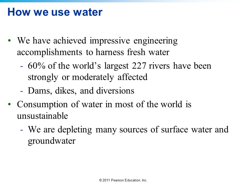 How we use water We have achieved impressive engineering accomplishments to harness fresh water.