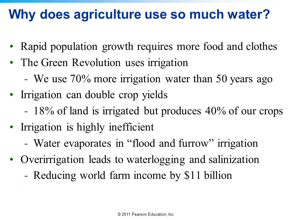 Why does agriculture use so much water