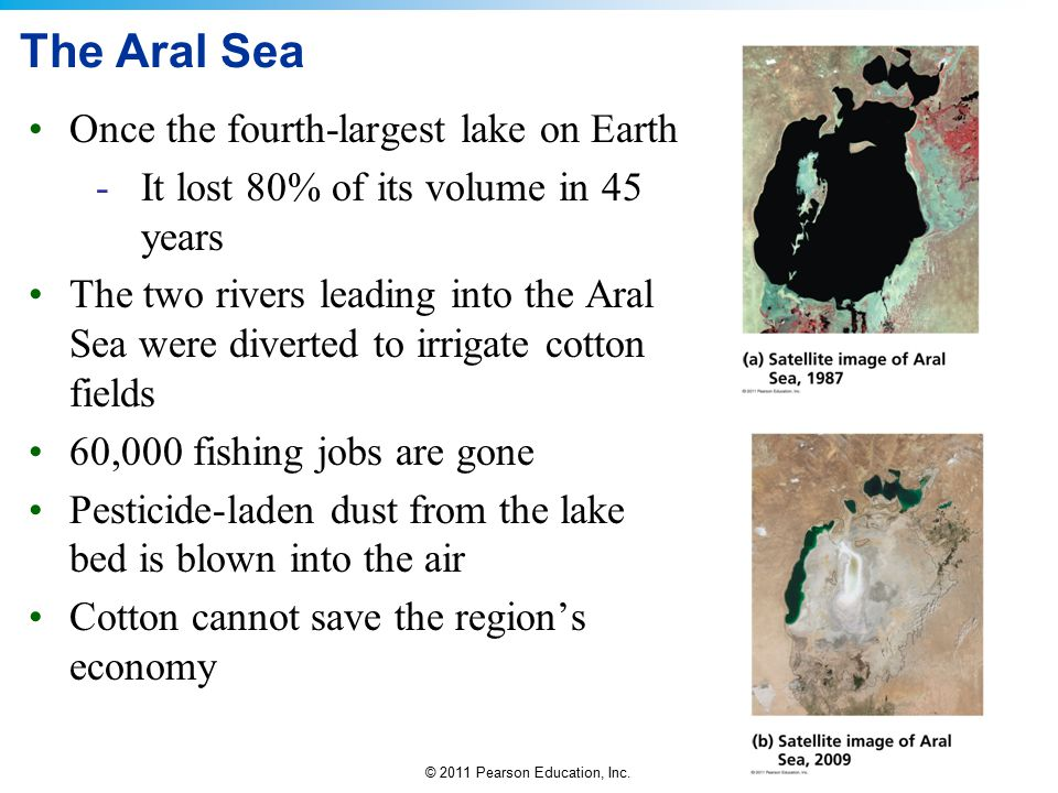 The Aral Sea Once the fourth-largest lake on Earth