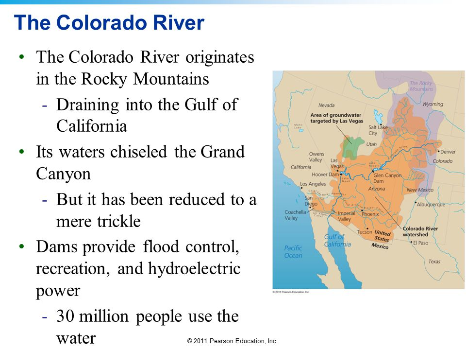The Colorado River The Colorado River originates in the Rocky Mountains. Draining into the Gulf of California.