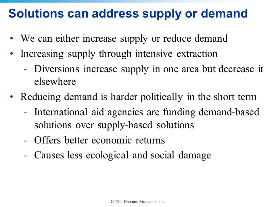 Solutions can address supply or demand