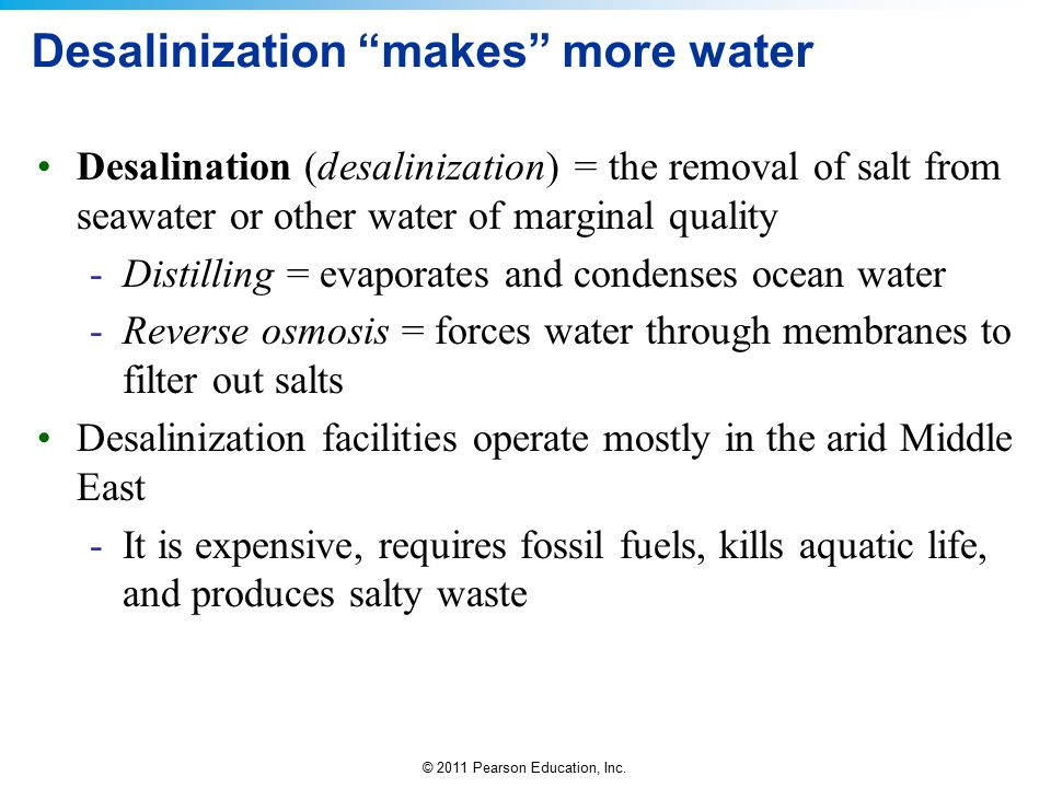 Desalinization makes more water