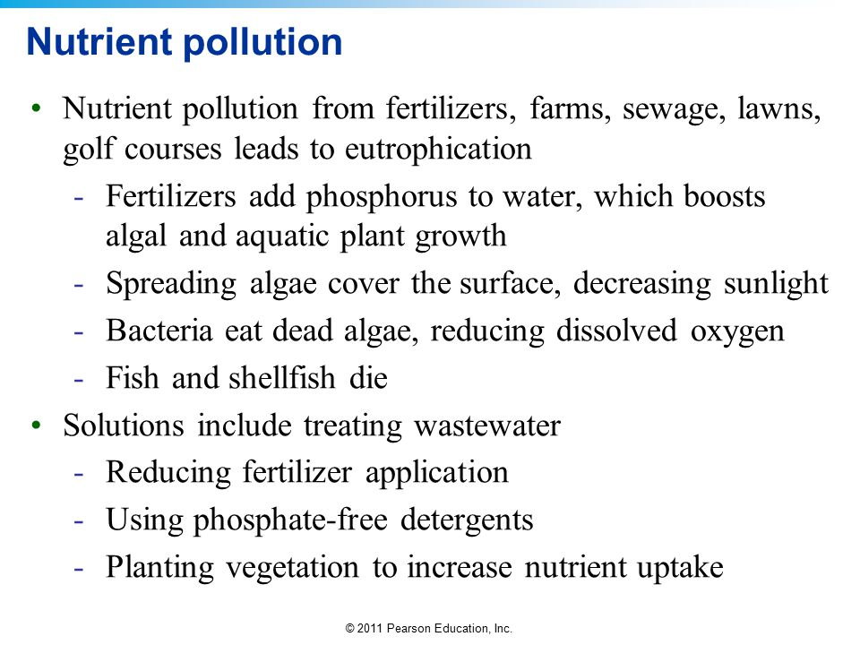 Nutrient pollution Nutrient pollution from fertilizers, farms, sewage, lawns, golf courses leads to eutrophication.