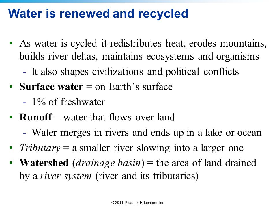 Water is renewed and recycled