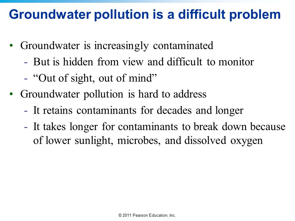 Groundwater pollution is a difficult problem