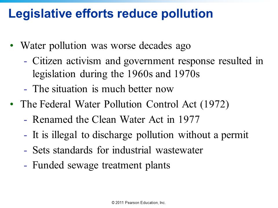 Legislative efforts reduce pollution