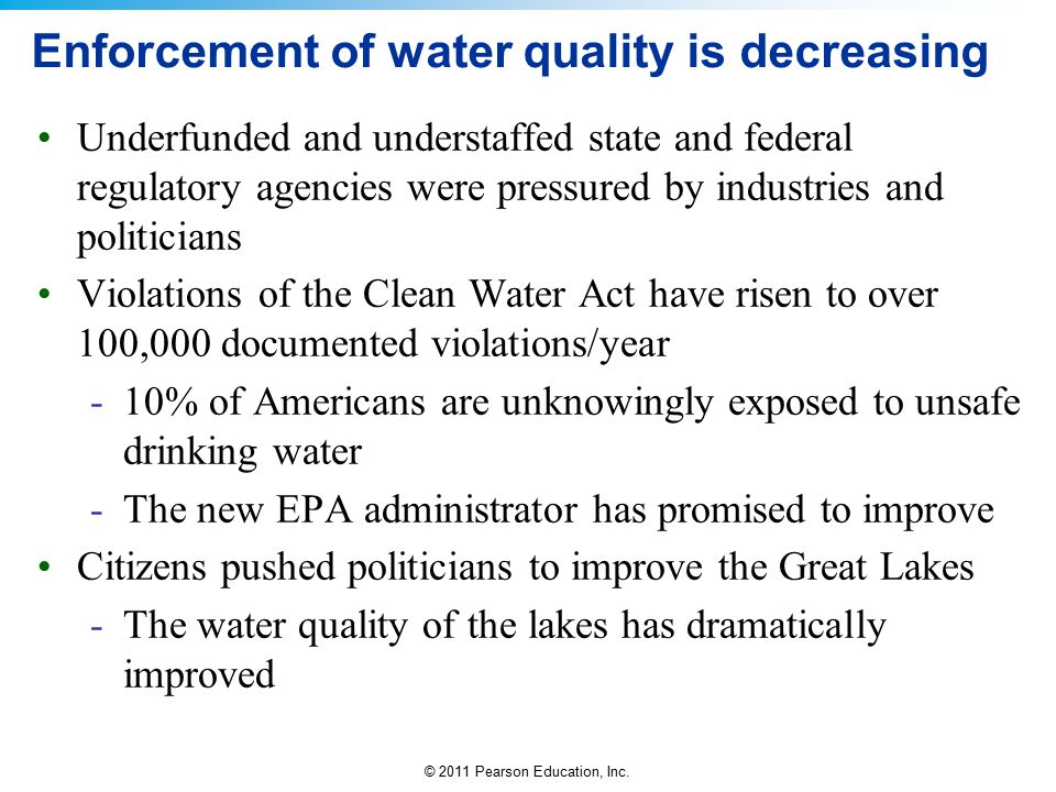 Enforcement of water quality is decreasing