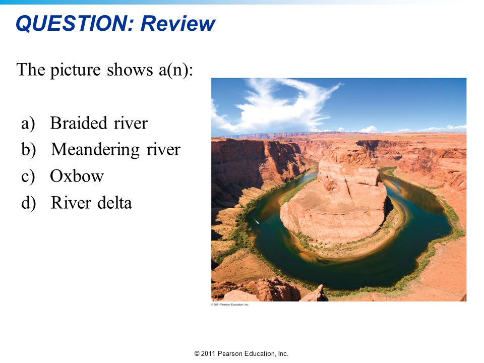 QUESTION: Review The picture shows a(n): a) Braided river