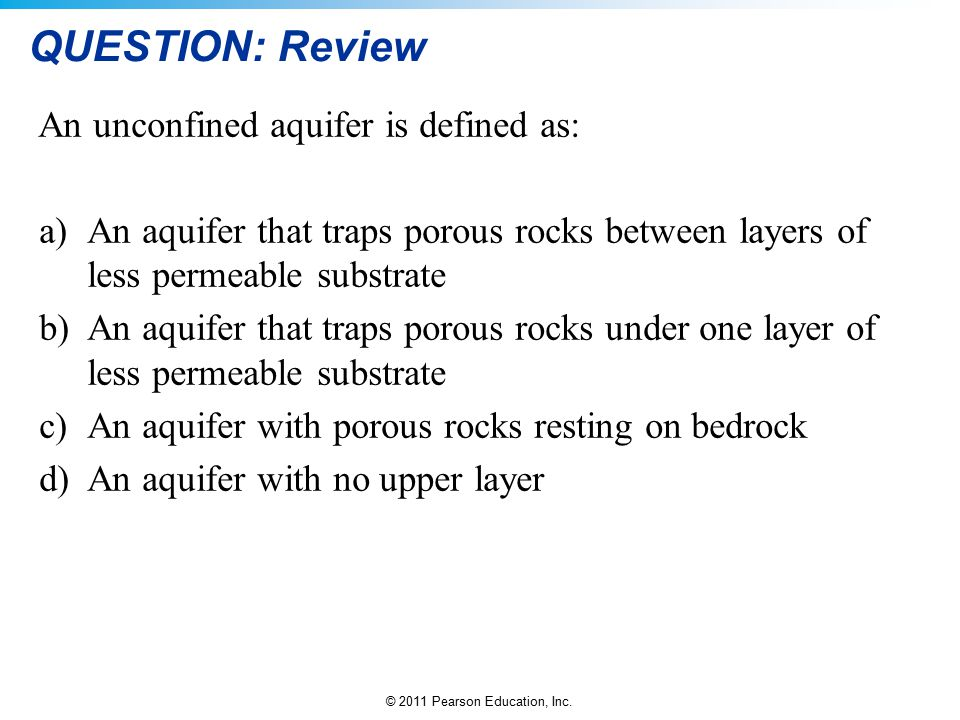 QUESTION: Review An unconfined aquifer is defined as: