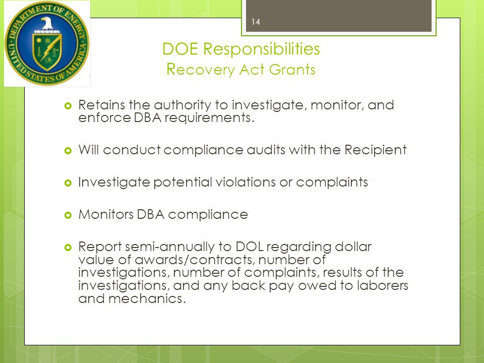 DOE Responsibilities Recovery Act Grants