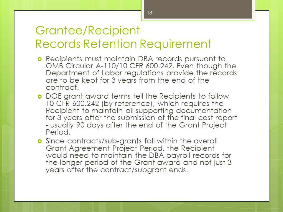Grantee/Recipient Records Retention Requirement