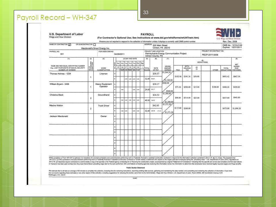 Payroll Record – WH-347