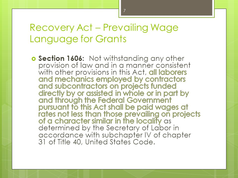 Recovery Act – Prevailing Wage Language for Grants