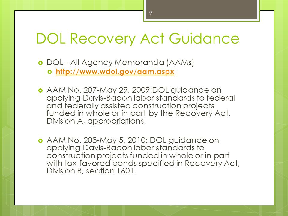 DOL Recovery Act Guidance