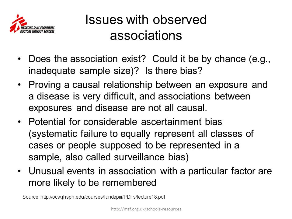 Issues with observed associations