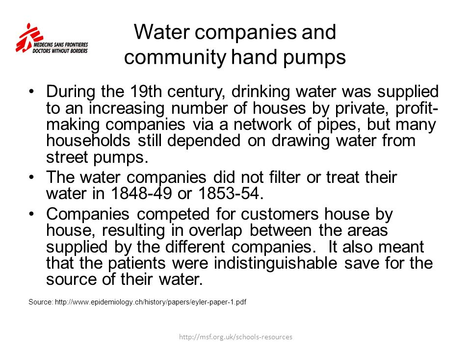 Water companies and community hand pumps