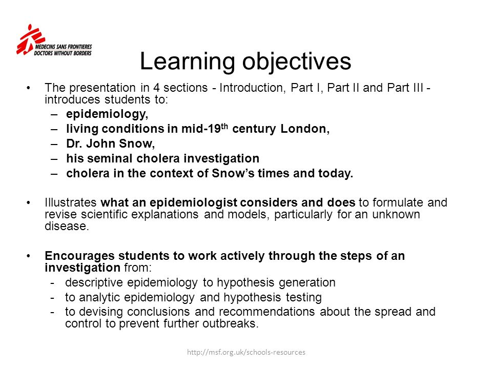 Learning objectives The presentation in 4 sections - Introduction, Part I, Part II and Part III - introduces students to: