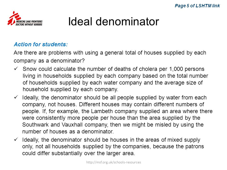 Ideal denominator Action for students: