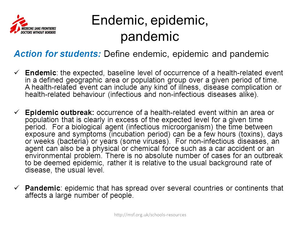 Endemic, epidemic, pandemic
