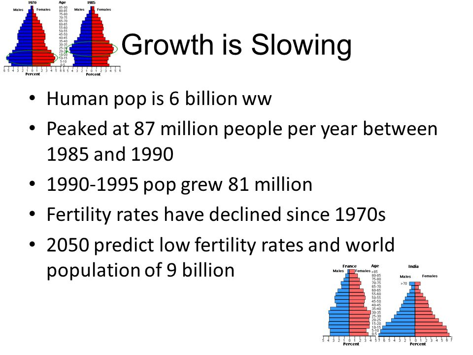 Growth is Slowing Human pop is 6 billion ww
